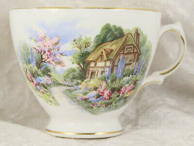 Royal Vale Duo Tea Cup & Matching Saucer Cottage Scene Collectable  • 2£