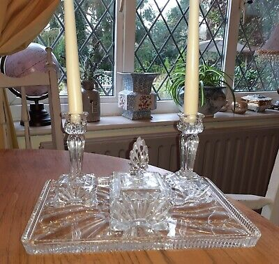 Art Deco Clear Glass Dressing Table Set • 14.99£