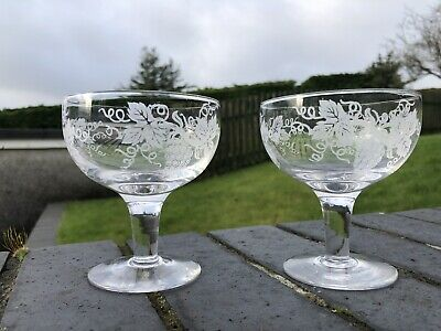 2 Vintage Glass Champagne Coupes With Grape And Vine Pattern • 4.99£