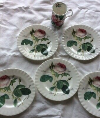 Set Of Five Roy Kirkham Redoute Roses Plates And Mug. • 16£