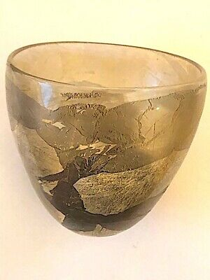 Small Art Studio Vintage Glass Hand Made Bowl With Gold Leaf Effect. Beautiful. • 19.99£