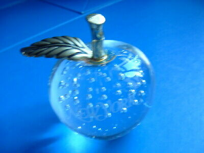 Vintage Clear Bubble Glass Apple Paperweight • 4.99£