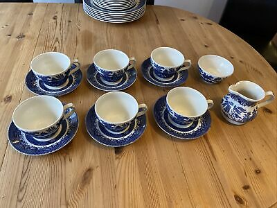 6 X Vintage Willow Pattern Churchill Tea Cups Set • 10.50£