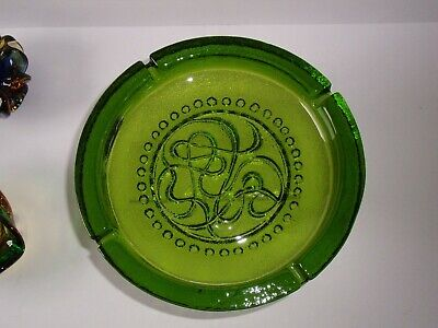 Huge And Heavy Moulded Green Glass Bowl. • 9£