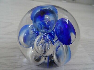 Langham Glass Royal Blue Bubbles Paperweight • 9.99£