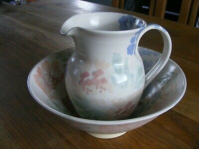 Pretty Painted Pottery Jug & Bowl Flowers • 3£