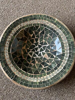 Green Mosaic Tiles Pottery Bowl Decorative Ornament • 8£