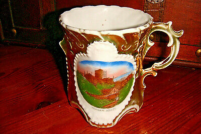 An Antique Souvineer Gilded China Mug - Hexham Abbey • 2.99£
