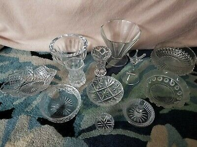 Collection Of Glass Items Vintage, Art Deco, Ring Holder Vases Dish Bowl • 20£