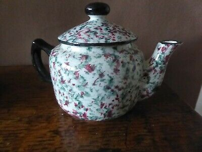Antique Spongeware Pottery Teapot A Present From Llanelly • 24£