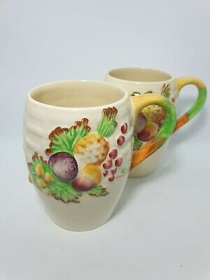 Royal Staffordshire (A J Wilkinson) Pair Pottery Mugs • 8£