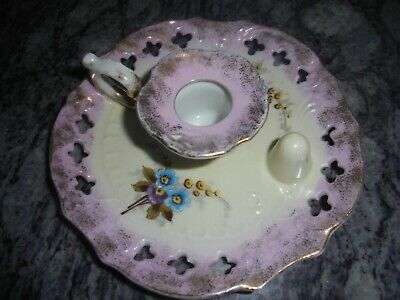 Antique Porcelain Chamber Stick Bohemian Hand Painted 'A Present From Dunoon'. • 25£