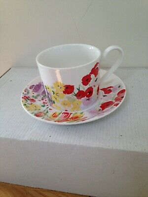 Queens By Churchill Painted Gardens Cup & Saucer China New Ex Con  • 5.99£