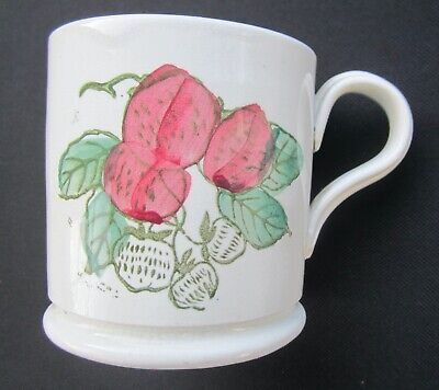 Antique Vintage  Hand Painted Strawberry Design Mug Unmarked In Style Wemyss • 110£