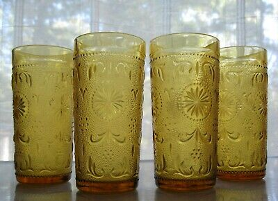 Brockway Glass 4 Amber American Concord Sandwich 11 Ounce Tumblers • 18.33£