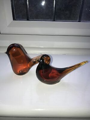 Wedgwood Glass Paperweights Topaz Birds Vintage One Is Wedgwood The Other Unmark • 2.50£