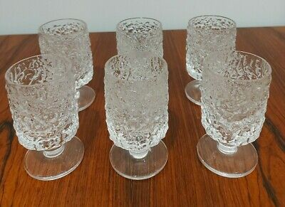 Whitefriars Glacier 6oz Crystal  Port/Sherry Glasses Set Of Six Mid Century. • 25£