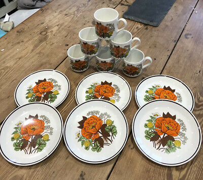 Vintage 60's 70's Cups & Plates Orange Poppies Yellow Clover Brown Leaves Boho • 12.99£