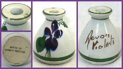Vintage Torquay Pottery Miniature Vase Genuine Devon Violets Perfume Bottle • 21.49£