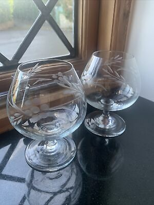 Pair Of Etched Clear Crystal Brandy Glasses • 9.99£