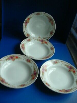 Crown Dynasty Floral Pattern 4 X Rimmed Soup Bowls • 8.99£