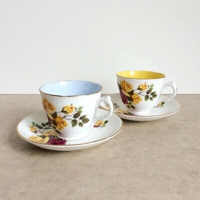 2 Vintage With Roses Bone China Tea Cups And Saucers • 8£