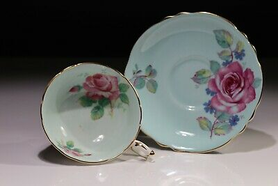 Paragon Cabbage Rose Tea Cup And Saucer Gold Trim  Green 1930s • 52.50£