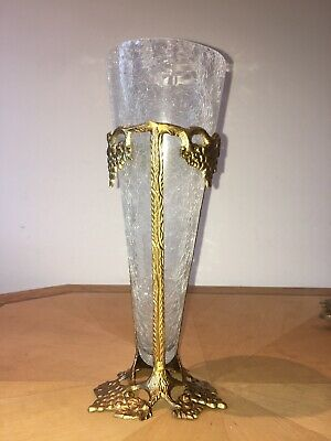 Ornate Cracked Glass Grape Gold Look Vase Indian Made Approx 11.5 Inches Tall • 0.99£