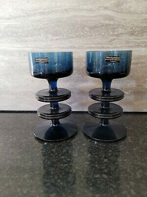 Pair Wedgewood Glass, Vintage Blue Glass, Wedgewood Candlesticks T-Light Holders • 20£