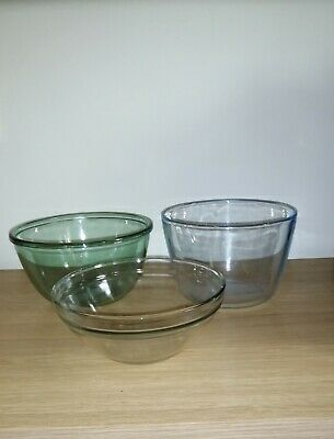 Vintage Clear Pyrex Glass Mixing/Pudding Bowls • 8£