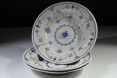 Vintage Furnivals Denmark Blue & White China- 3 Rimmed Cereal/soup/dessert Bowls • 31.50£
