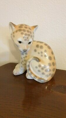 Vintage Russian Cheetah Cat Figurine. Porcelain Made In Ussr. • 6£