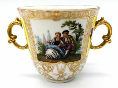 Two Handed Porcelain Cup With Gold Gilt 19th Century Meissen Reproduction • 12.50£