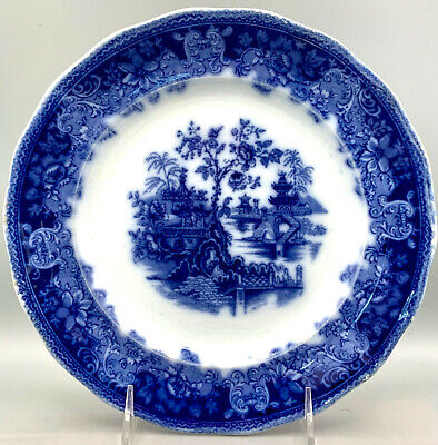 Antique Flow Blue Plate  Shanghai  By Wade & Co. • 10.97£