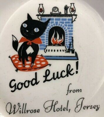Cute Vintage Black Cat 50s Pin Dish Ad Willrose Hotel Jersey MCM Lucky Pussy . • 19.99£