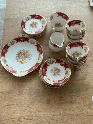 SHELLEY FINE CHINA DUCHESS In Red (13401) Tea Service Set • 143£