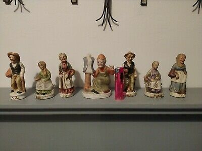 Collection Of 6 Vintage Ceramic Old Men/woman Statue Figurines Ornaments • 7£
