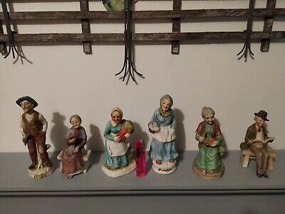 Collection Of 6 Vintage Ceramic Old Men/woman Statue Figurines Ornaments • 8.60£