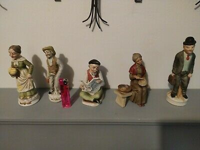 Collection Of 5 Vintage Ceramic Old Men/woman Statue Figurines Ornaments • 5£