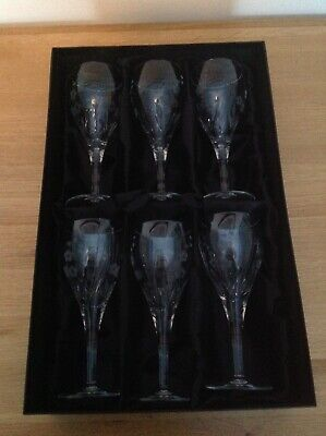 Royal Dalton Hand Cut Crystal Wine Glasses 6 Piece Design Is Called Chelsea • 60£
