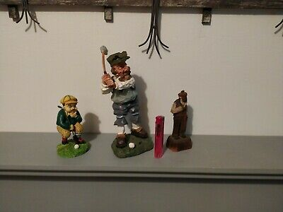 Collection Of 3 Vintage  Old Men Golf Statue Figurines Ornaments • 3£