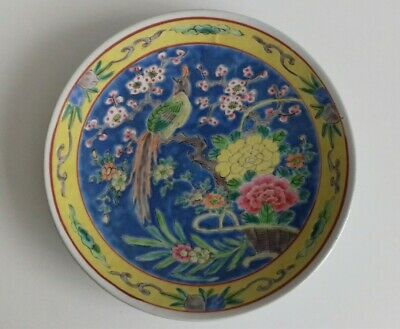 Vintage Hand Painted Blue & Imperial Plate. Depicts Phoenix & Cherry Blossom • 15£
