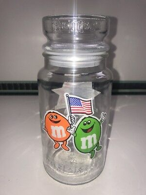M&M's Glass Chocolate Candy Sweets Jar 1984 LA Los Angeles Olympic Games Vintage • 11.99£