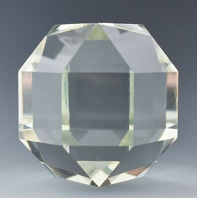 """3.75"""" Cartier Solid Crystal Glass Faceted Paperweight BM41 • 72.73£"""