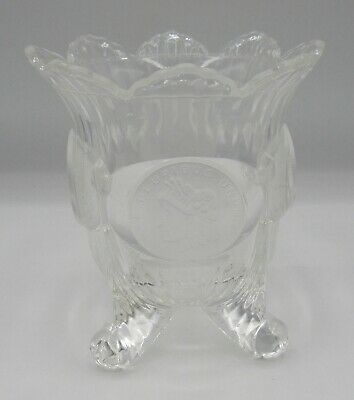 """1892 Liberty Head Dollar Coin Footed Bowl/vase Pressed Glass 5"""" US Glass Co? • 35.11£"""