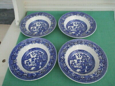 4 X Swinnertons Staffordshire England Old Willow Lipped Bowls • 9.50£