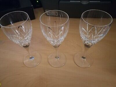 3 X Edinburgh Crystal Large Wine Glasses Broughton Signed 7  Tall 18cm Excellent • 39.99£