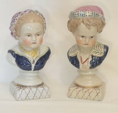 Vintage Pair Continental Style Pottery Mantle Busts Boy Girl Poss Staffordshire • 28.50£