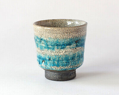 Raku Tea Bowl, White Crackle Glaze And Brushed Turquoise Decoration, Japanese? • 20£