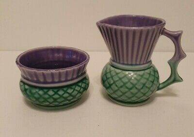 Vintage Clyde Ceramics Thistle Sugar Bowl And Creamer Set - Made In Scotland • 25£